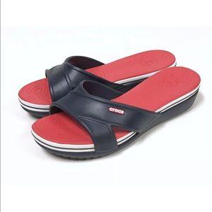 NWOB NEW Crocs Criss Cross Wedge Sandals Blue Red